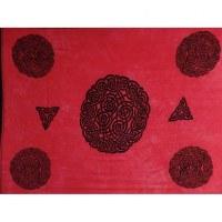Tenture rouge rosaces celtiques noires