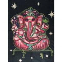 Maxi tenture noire Ganesh rose et son rat vert