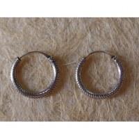 Créoles écailles rondes argent 15 mm
