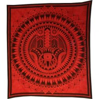 Tenture maxi rouge khamsa fleur de lotus