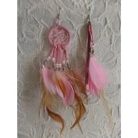 Boucles d'oreilles roses dreamcatcher originality