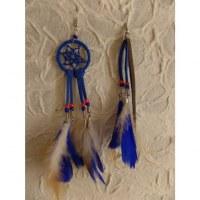 Boucles d'oreilles bleues dreamcatcher originality