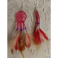 Boucles d'oreilles rose foncé dreamcatcher originality