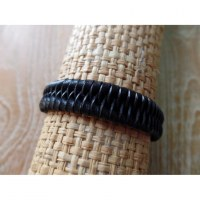 Bracelet cuir tressé 1 noir