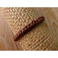 Bracelet rond cuir tressé marron