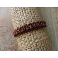 Bracelet cuir kecil marron/chamois