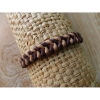 Bracelet cuir kecil marron/beige