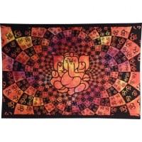 Tenture Ganesh lotus aum orange