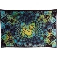Tenture Ganesh lotus aum bleue