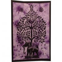 Mini tenture mauve arbre de vie et éléphant