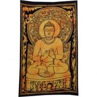 Mini tenture jaune Bouddha dharmacakra-mudrā