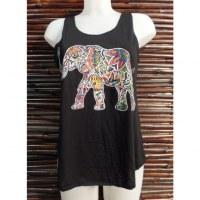 Débardeur noir éléphant fleur color