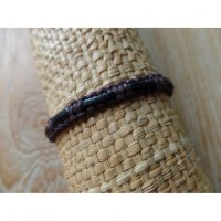 Bracelet macra Endang marron cuir noir