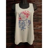 Débardeur dreamcatcher bleu fleurs roses