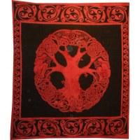 Tenture maxi arbre de vie celte rouge/noir