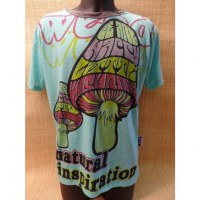 Tee shirt turquoise mushrooms