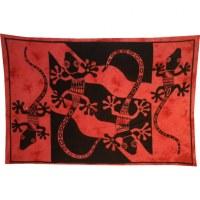 Tenture abstract salamandres rouge brique