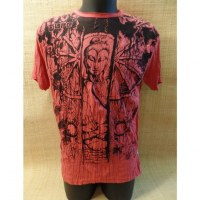 Tee shirt Bouddha en méditation rouge