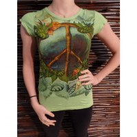 Tee shirt vert peace & love flowers