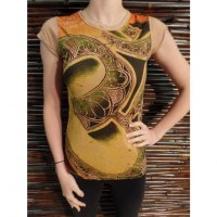 Tee shirt Aum flower marron clair