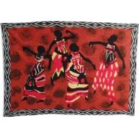Tenture marron batik danseuses africaines