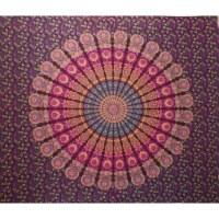 Tenture maxi éventail floral prune/bleu/rose/jaune