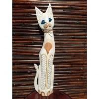 Chat en bois blanc yeux bleus