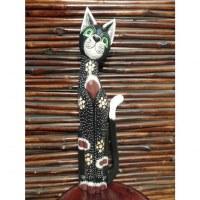Chat en bois noir yeux verts