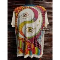 Tee shirt blanc yin yang eyes