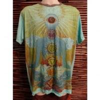 Tee shirt turquoise yogi 7 chakras
