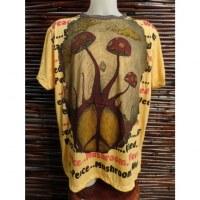 Tee shirt jaune champignons peace & love