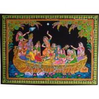 Petite tenture Krishna en bateau