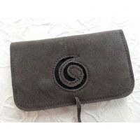 Blague à tabac croûte de cuir grise spirale noire