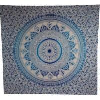 Tenture maxi blanche mandala lotus bleu