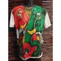 Tee shirt blanc éléphant rouge éléphant vert