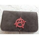 Blague à tabac croûte de cuir anarchie marron/rouge