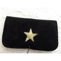 Blague à tabac croûte de cuir star noir/jaune pâle