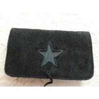 Blague à tabac croûte de cuir star noir/bleu