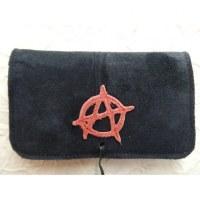 Blague à tabac croûte de cuir anarchie noir/rouge