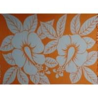 Petite tenture blanche/orange 2 hibiscus