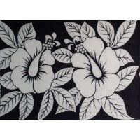 Petite tenture blanche/noire 2 hibiscus