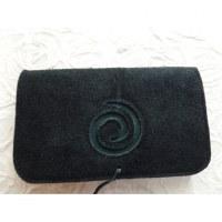 Blague à tabac croûte de cuir noire spirale arobase bleue