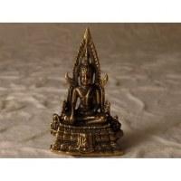 Miniature dorée Bouddha assis sur son trône