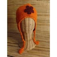 Chullo enfant orange 2 à fleurs