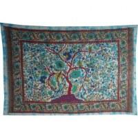 Tenture bleue arbre de vie