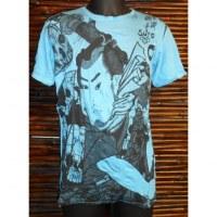 Tee shirt samouraï bleu clair