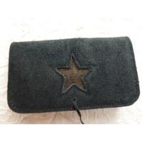 Blague à tabac croûte de cuir noire star marron