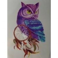 Tatouage chouette attrape rêves