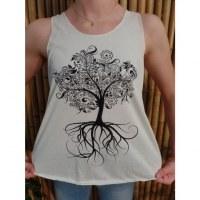 Débardeur arbre noir stylisé