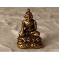Miniature de Bouddha Bhumisparsa doré